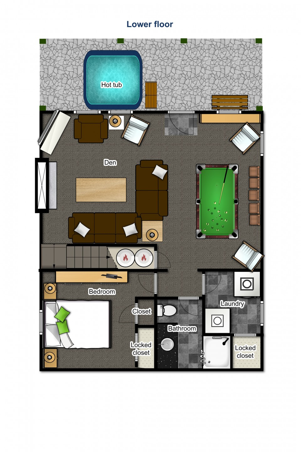 Lower floor — den, bedroom, bathroom, laundry and hot tub outside