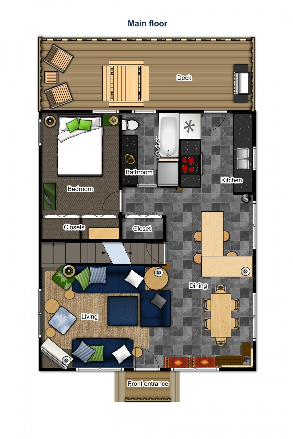 Main floor — front entry, living room, dining, kitchen, bedroom, bathroom and deck