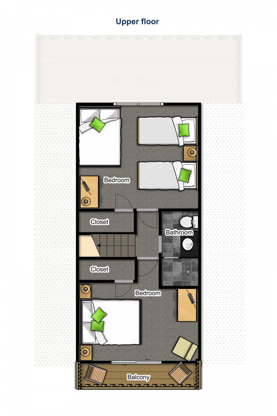 Upper floor — two bedrooms and a bathroom